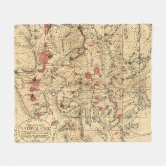 Vintage Karte von Yellowstone Nationalpark (1881) Fleecedecke