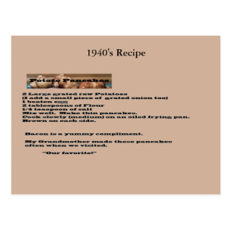 Vintage Kartoffel-Pfannkuchen-Rezept-Postkarte Postkarte
