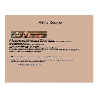 Vintage Kartoffel-Pfannkuchen-Rezept-Postkarte Postkarten