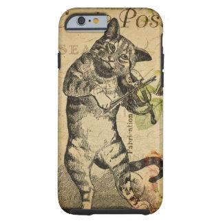 Vintage Katze, die eine Violine spielt Tough iPhone 6 Hülle