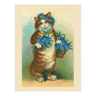 """""""Vintage Katze mit Vergissmeinnicht-"""" Postkarte Postkarte"""