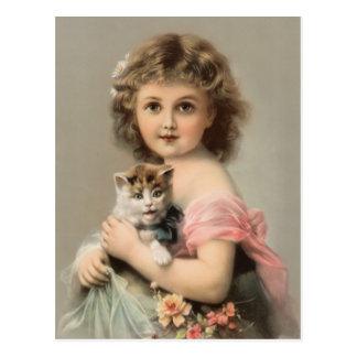 Vintage Katze und Mädchen Postkarte