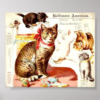 Vintage Katzen-Familie Poster