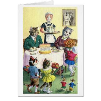 Vintage Katzen-Familien-Mutter-Geburtstags-Karte