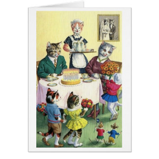 Vintage Katzen-Familien-Mutter-Geburtstags-Karte Grußkarte