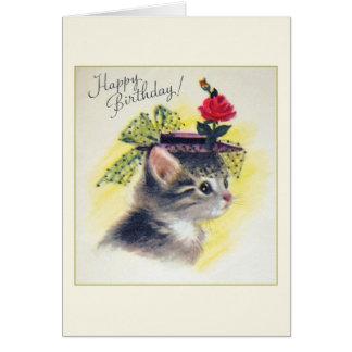 Vintage Katzen-Geburtstags-Gruß-Karte Karte