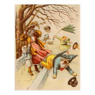 Vintage Katzen-gehende windiger Tagespostkarte Postkarte