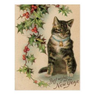 Vintage Katzen-neues Jahr-Weihnachtspostkarte Postkarte