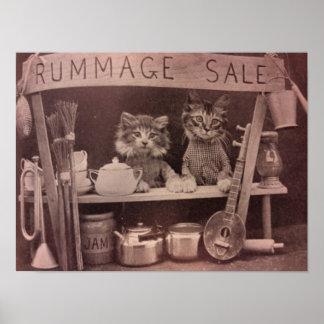 Vintage Katzen Rummage Verkaufs-Plakat Poster