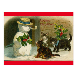 Vintage Katzen-Schnee-Mann-frohe Postkarte