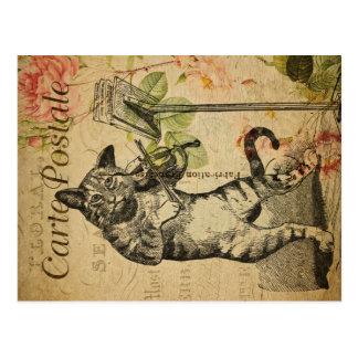 Vintage Katzen-Thema| Carte Postale | Katze u. Postkarte