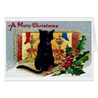Vintage Katzen-Weihnachtskarte Karte