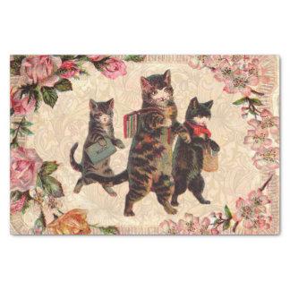 Vintage Katzenhübscher antiker Kitty Seidenpapier