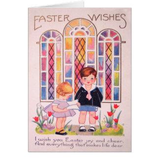 Vintage Kinder an Kirchen-Ostern-Karte Karte
