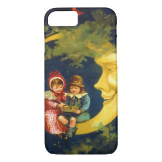 Vintage Kinder, die auf dem sichelförmigen Mond iPhone 7 Hülle