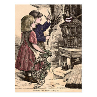 """Vintage Kinder """", die die Elster-"""" Postkarte überr"""
