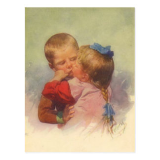 Vintage Kinder, die Kunst, Karl Feiertag 1910 küss Postkarte