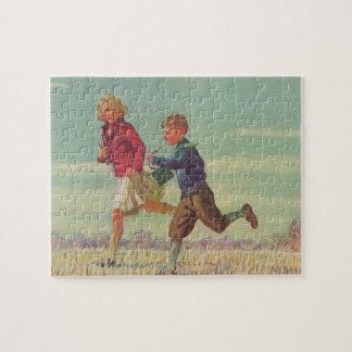 Vintage Kinder, die zu Schultragenden Büchern Puzzle