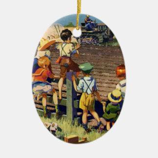 Vintage Kinder, die zum lokalen Bauern auf Traktor Keramik Ornament