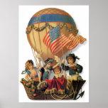 Vintage Kinder im Heißluft-Ballon; Sichere Reise Plakate