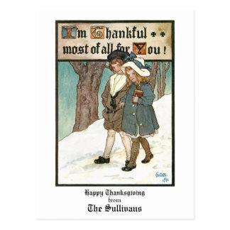 Vintage Kinder mit Erntedank-Gruß Postkarte