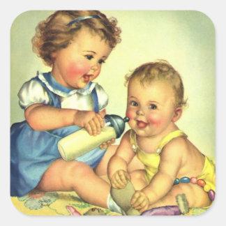 Vintage Kinder, niedliche glückliche Quadratischer Aufkleber