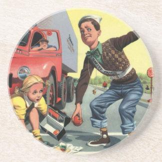 Vintage Kinder, Sandstein Untersetzer
