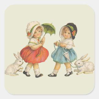 Vintage Kinder und Kaninchen Quadratischer Aufkleber