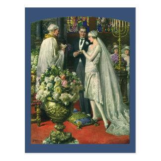 Vintage Kirchen-Hochzeits-Zeremonie; Braut und Postkarte