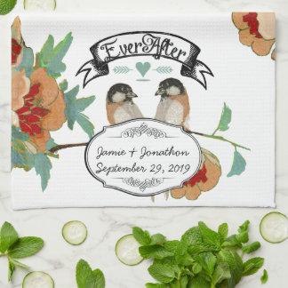 Vintage Kirschblüten-Liebe-Vogel-Pfirsich-Minze Küchentuch