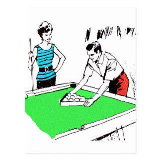 Vintage Kitsch-60er Pool-Tabelle Billards Spieler Postkarte
