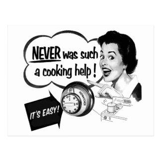 Vintage Kitsch-Hausfrau-Ofen-Anzeige das Postkarte