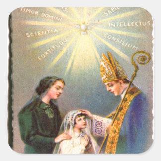 Vintage Kitsch-katholische heilige Karten-erste Quadrat-Aufkleber