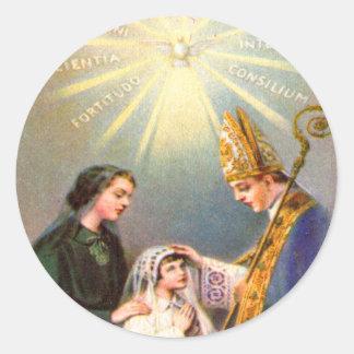 Vintage Kitsch-katholische heilige Karten-erste Runder Aufkleber
