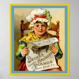 Vintage Klavier-Anzeigen-Decker-Bruder-Klaviere Poster