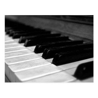Vintage Klavier-Schlüssel; Schwarzweiss Postkarte