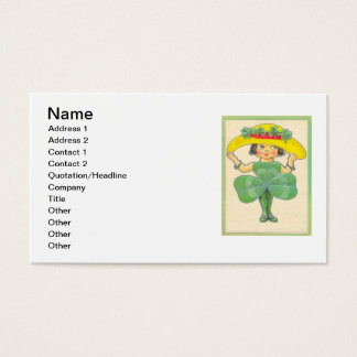 Vintage Kleeblatt-Mädchen-St Patrick Gruß-Karte Visitenkarte