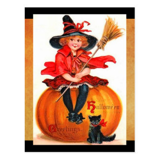 Vintage kleine Hexe Halloweens Postkarte
