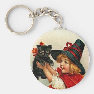 Vintage kleine Hexe und schwarze Katze Schlüsselanhänger