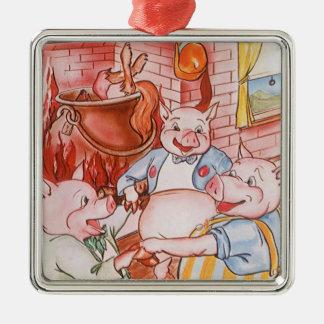 Vintage kleine Schweine der feenhaften Quadratisches Silberfarbenes Ornament