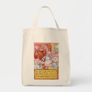 Vintage kleine Schweine der feenhaften Einkaufstasche