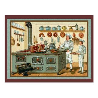 Vintage Köche in der Küche Postkarte