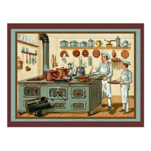 Vintage Köche in der Küche Postkarten