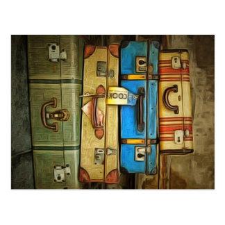 Vintage Koffer Postkarte