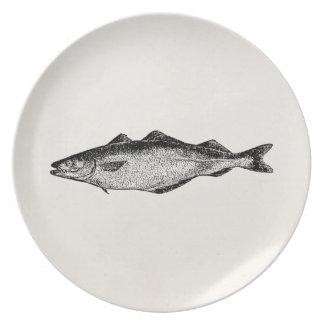 Vintage Kohlen-Fische - Fisch-Schablonen-freier Flacher Teller