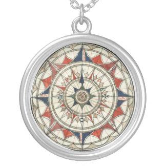 Vintage Kompass-Rose Halskette Mit Rundem Anhänger