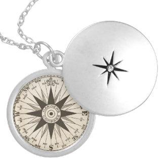 Vintage Kompass-Rosen-Halskette