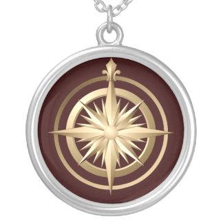 Vintage Kompass-Sterlingsilber-Halskette Brown Halskette Mit Rundem Anhänger