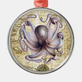 Vintage Krake Rundes Silberfarbenes Ornament