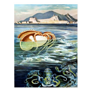 Vintage Kraken-u. Tintenfisch-Postkarte Postkarte